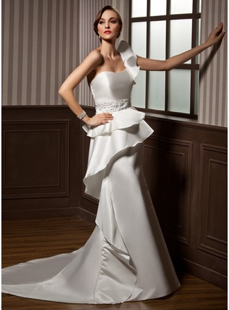 Trumpet/Mermaid One-Shoulder Chapel Train Satin Wedding Dress With Beading Cascading Ruffles