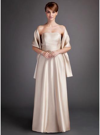 A-Line/Princess Strapless Floor-Length Charmeuse Bridesmaid Dress With Ruffle
