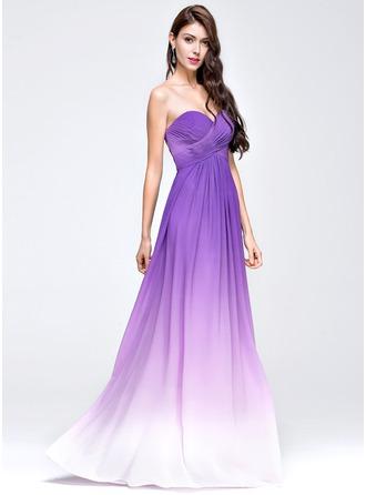 Empire Sweetheart Floor-Length Chiffon Prom Dress With Ruffle