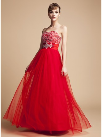 A-Line/Princess Sweetheart Floor-Length Taffeta Tulle Holiday Dress With Ruffle Beading