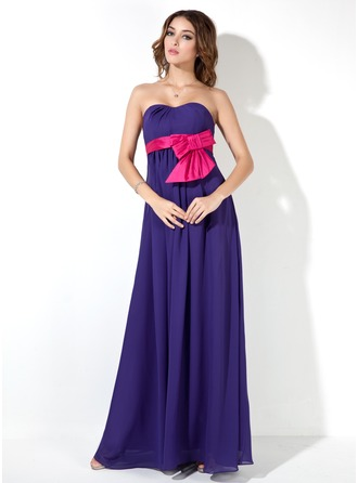 Empire Sweetheart Floor-Length Chiffon Chiffon Maternity Bridesmaid Dress With Sash Bow(s)