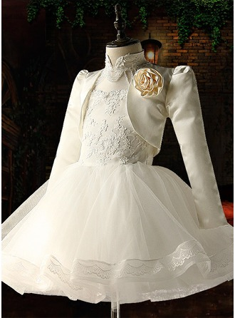 Ball Gown Knee-length Flower Girl Dress - Organza/Satin/Tulle Long Sleeves Stand Collar With Beading/Appliques