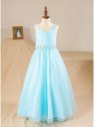 Ball Gown Floor-length Flower Girl Dress - Tulle Sleeveless Straps With Beading/Sequins/Rhinestone