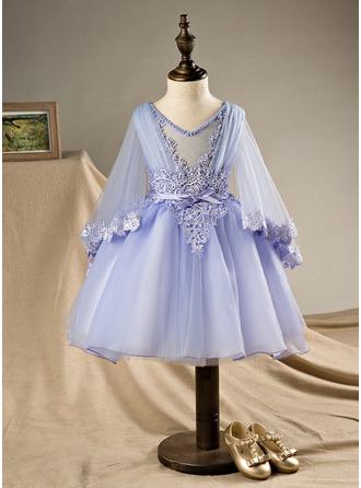 Robe Marquise Longueur genou Robes à Fleurs pour Filles - Polyester/Coton Manches longues Col V avec Brodé/À ruban(s)