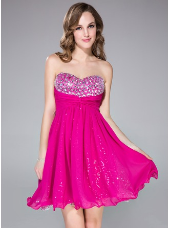 Empire Sweetheart Short/Mini Chiffon Prom Dress With Ruffle Beading