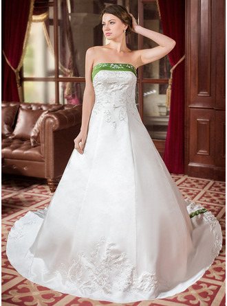 A-Line/Princess Strapless Royal Train Satin Wedding Dress With Embroidered Sash Beading