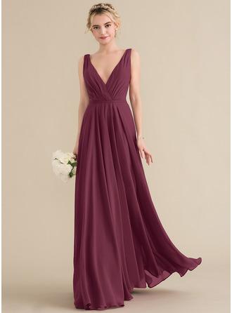 A-لاين أميرة V عنق الطول الأرضي الشيفون فستان وصيفة الشرف مع كشكش