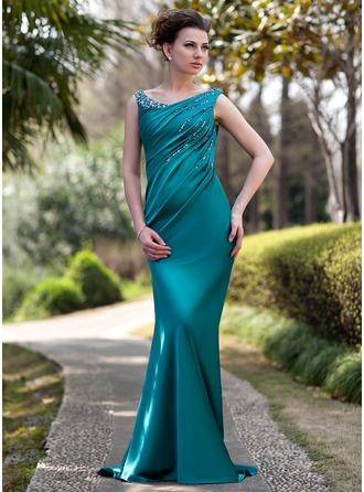 Trumpet/Mermaid Off-the-Shoulder Sweep Train Charmeuse Mother of the Bride Dress With Ruffle Beading Sequins