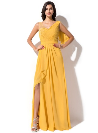 A-Line/Princess V-neck Floor-Length Chiffon Evening Dress With Beading Flower(s) Sequins Split Front Cascading Ruffles