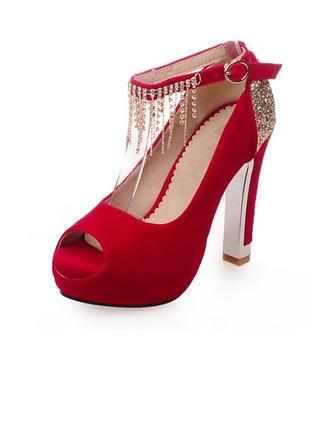 Femmes Suède Talon bottier Plateforme À bout ouvert avec Strass Boucle Tassel chaussures