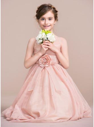 A-Line/Princess Tea-length Flower Girl Dress - Tulle Sleeveless Straps With Flower(s)