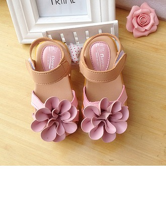 Girl's Leatherette Flat Heel Round Toe Slingback Flats With Flower