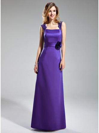 Sheath/Column Square Neckline Floor-Length Satin Lace Bridesmaid Dress With Flower(s)