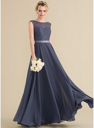A-لاين أميرة عنق مدور الطول الأرضي الشيفون ربط الحذاء فستان وصيفة الشرف مع أقواس