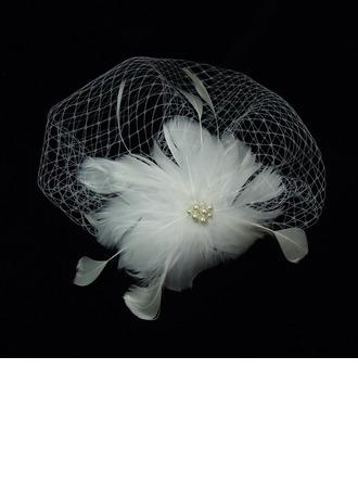 Magnifique De faux pearl/Feather/Tulle Chapeaux de type fascinator