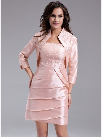 Sheath/Column Square Neckline Short/Mini Taffeta Mother of the Bride Dress With Beading Cascading Ruffles