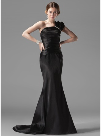 Trumpet/Mermaid One-Shoulder Sweep Train Charmeuse Evening Dress With Ruffle Beading