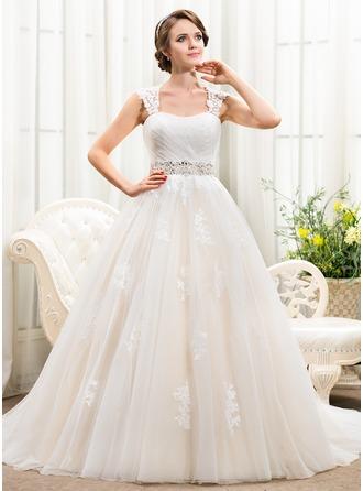Corte de baile Escote corazón Cola capilla Tul Vestido de novia con Bordado Los appliques Encaje Lentejuelas