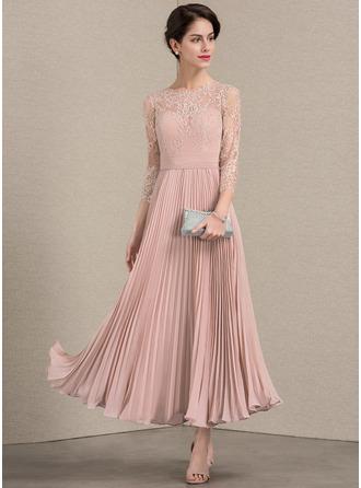 A-لاين أميرة عنق مدور طول الكاحل الشيفون ربط الحذاء فستان أم العروس مع مطوي