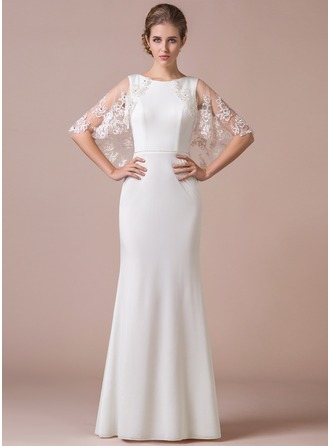 Trumpet/Mermaid Scoop Neck Floor-Length Tulle Jersey Evening Dress With Beading Appliques Lace Sequins