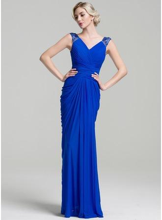 Trompete/Meerjungfrau-Linie V-Ausschnitt Bodenlang Jersey Kleid für die Brautmutter mit Rüschen Perlstickerei