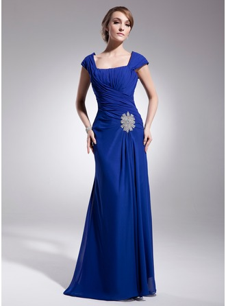 A-Line/Princess Square Neckline Sweep Train Chiffon Mother of the Bride Dress With Ruffle