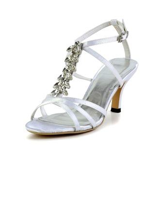 Women's Silk Like Satin Cone Heel Sandals Slingbacks With Buckle Rhinestone