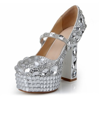 Women's Patent Leather Chunky Heel Platform Pumps With Rhinestone