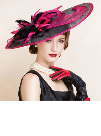 Ladies' Fashion Summer Cambric With Feather Bowler/Cloche Hat