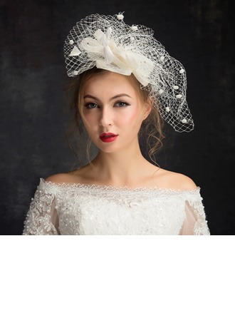 Dames Accrocheur Feather/Fil net avec Feather Chapeaux de type fascinator