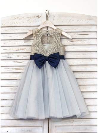 A-Line/Princess Tea-length Flower Girl Dress - Tulle/Lace Sleeveless Scoop Neck With Bow(s)