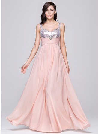 A-Line/Princess Sweetheart Floor-Length Chiffon Sequined Prom Dress With Ruffle Beading