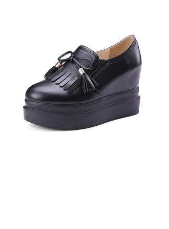 Femmes Similicuir Talon compensé Escarpins Plateforme Bout fermé avec Dentelle Tassel chaussures