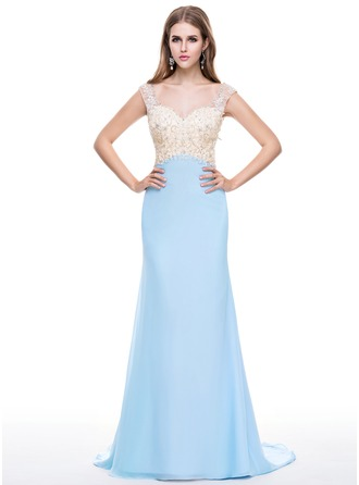 Trumpet/Mermaid Sweetheart Watteau Train Chiffon Tulle Evening Dress With Lace Beading Sequins