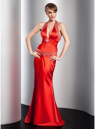 Sheath/Column Halter Floor-Length Charmeuse Evening Dress With Ruffle Beading