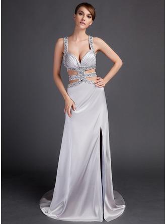 Sheath/Column Watteau Train Charmeuse Prom Dress With Beading Split Front
