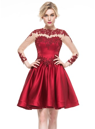 A-Line/Princess Scoop Neck Knee-Length Satin Cocktail Dress With Appliques Lace
