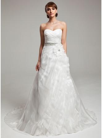 A-Line/Princess Sweetheart Court Train Organza Wedding Dress With Ruffle Beading Flower(s)