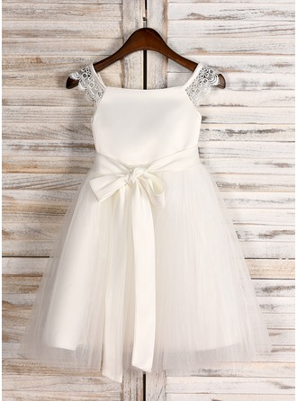 A-Line/Princess Knee-length Flower Girl Dress - Satin/Tulle Sleeveless Square Neckline With Sash