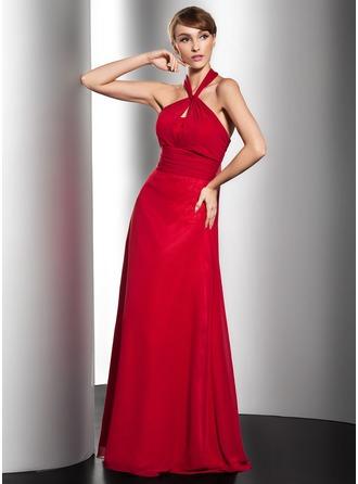 A-Line/Princess Halter Floor-Length Chiffon Evening Dress With Ruffle Bow(s)