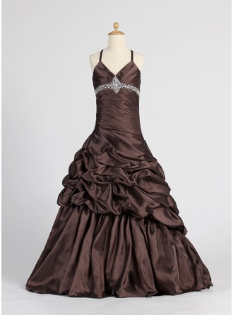 A-Line/Princess V-neck Floor-Length Taffeta Flower Girl Dress With Ruffle Beading