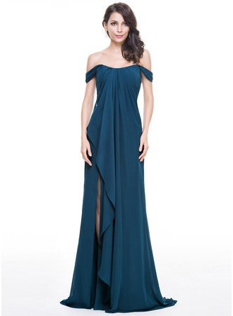 A-Line/Princess Off-the-Shoulder Sweep Train Chiffon Evening Dress With Split Front Cascading Ruffles