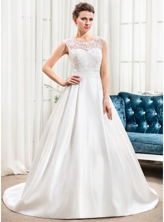 A-linjeformat Rund-urringning Court släp Satäng Spetsar Bröllopsklänning med Rufsar Pärlbrodering Paljetter