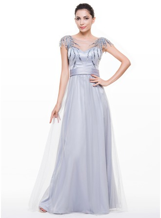 A-Line/Princess Scoop Neck Floor-Length Satin Tulle Evening Dress With Ruffle Sequins