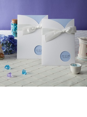 Personalized Formal Style Wrap & Pocket Invitation Cards With Bows