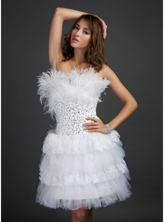 A-Line/Princess Scalloped Neck Knee-Length Satin Tulle Cocktail Dress With Lace Beading Feather Sequins Cascading Ruffles