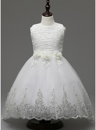 Ball Gown Ankle-length/Sweep Train Flower Girl Dress - Cotton Blends Sleeveless Jewel With Lace/Flower(s)