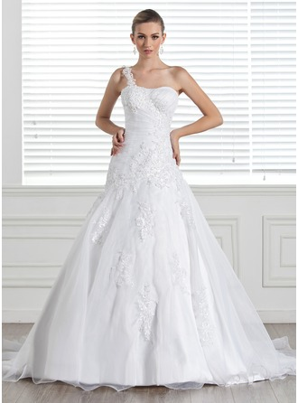 A-Line/Princess One-Shoulder Court Train Satin Organza Wedding Dress With Lace