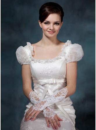 Satiniert Ellenbogen Länge Braut Handschuhe