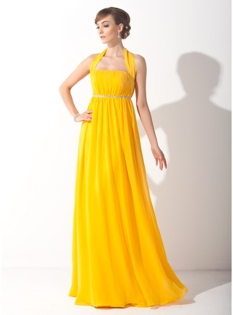 Empire Halter Floor-Length Chiffon Holiday Dress With Ruffle Beading